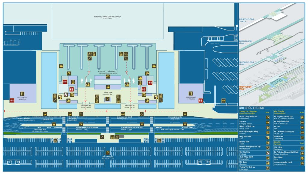 Sơ đồ tầng 1 nhà ga hành khách quốc tế T2 - Sân bay Nội Bài