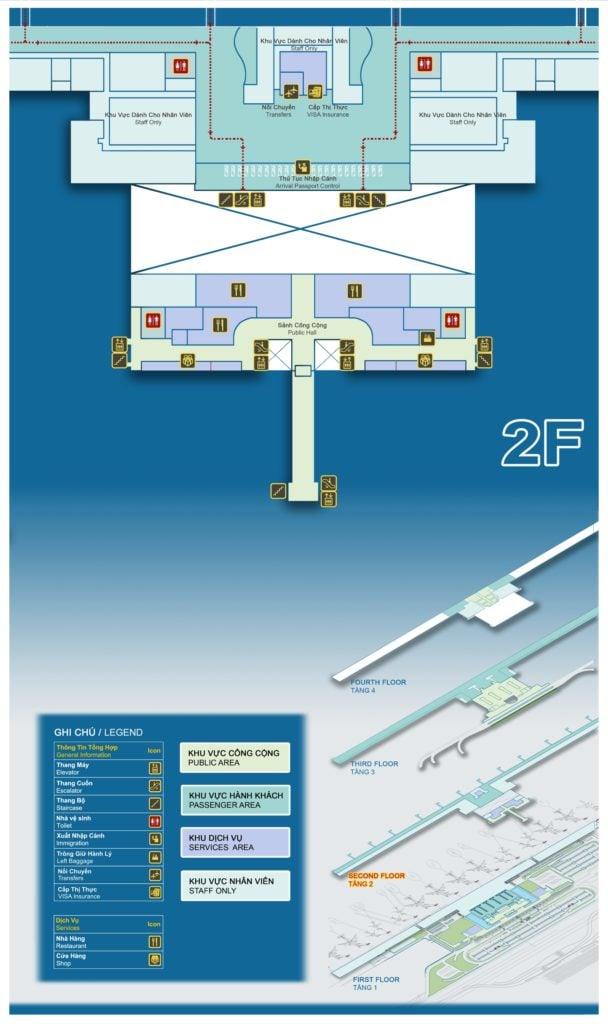 Sơ đồ tầng 2 nhà ga hành khách quốc tế T2 - Sân bay Nội Bài