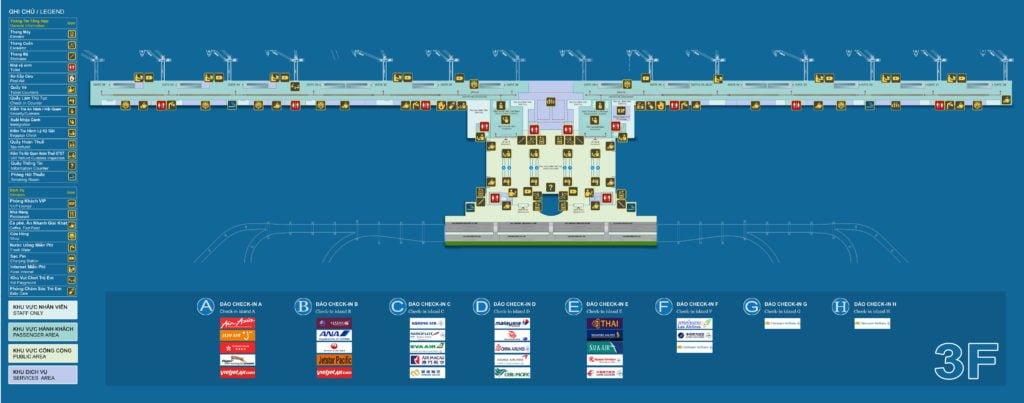 Sơ đồ tầng 3 nhà ga hành khách quốc tế T2 - Sân bay Nội Bài