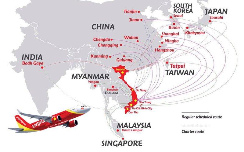 Mạng lưới đường bay hãng hàng không Vietjet Air