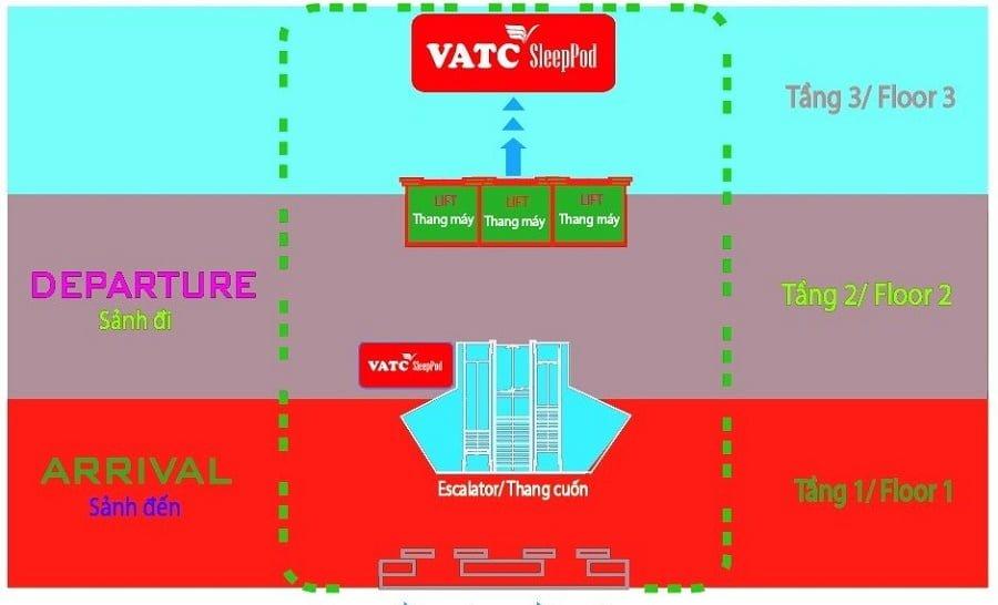 Sơ đồ vị trí đặt hộp ngủ tại nhà ga T1 sân bay Nội Bài