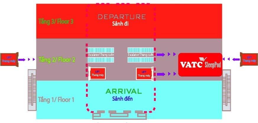Sơ đồ vị trí đặt hộp ngủ tại nhà ga T2 sân bay Nội Bài