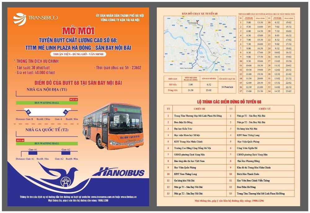 Thông báo mở mới tuyến buýt số 68: Hà Đông - Sân bay Nội Bài