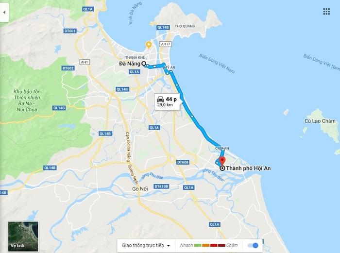 Khoảng cách từ sân bay Đà Nẵng về Hội An khoảng 30km
